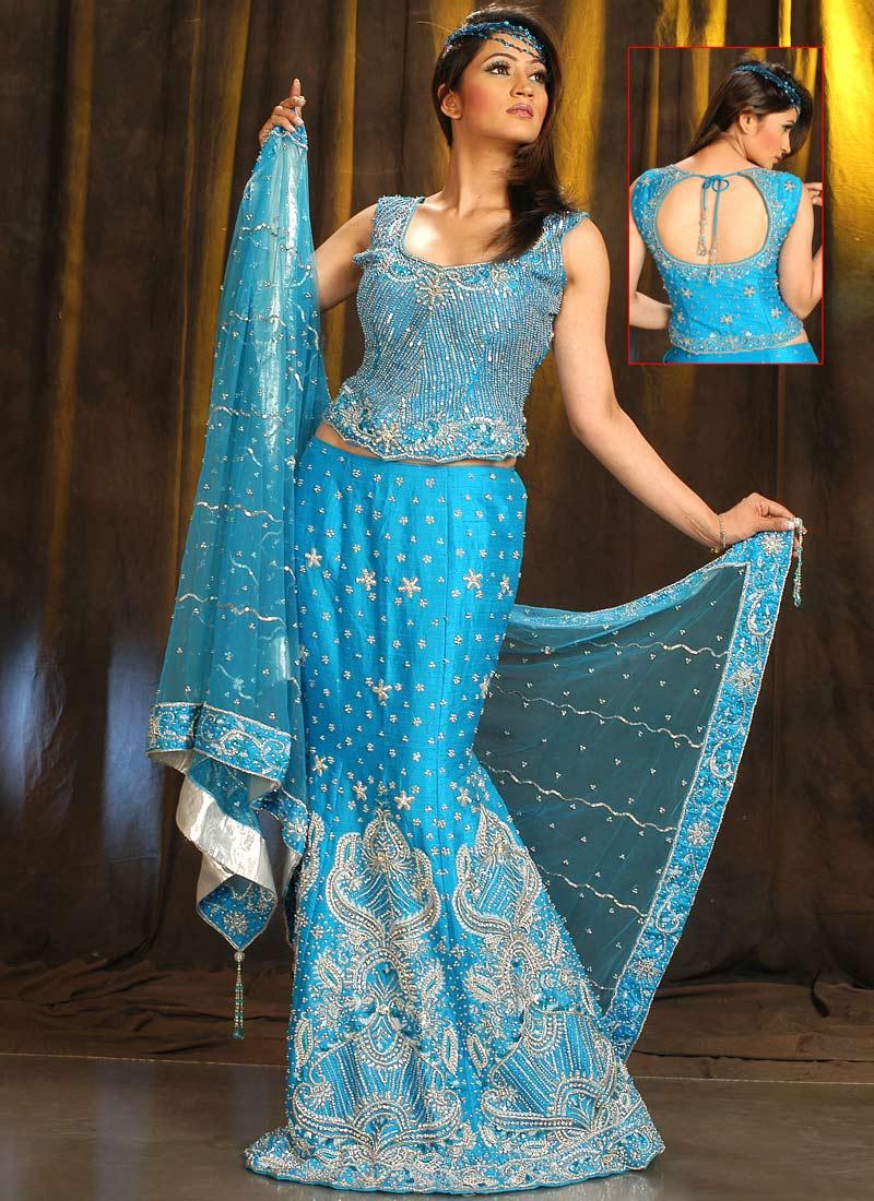 She fashion club wedding dress lehenga in blue for Wedding dress in blue