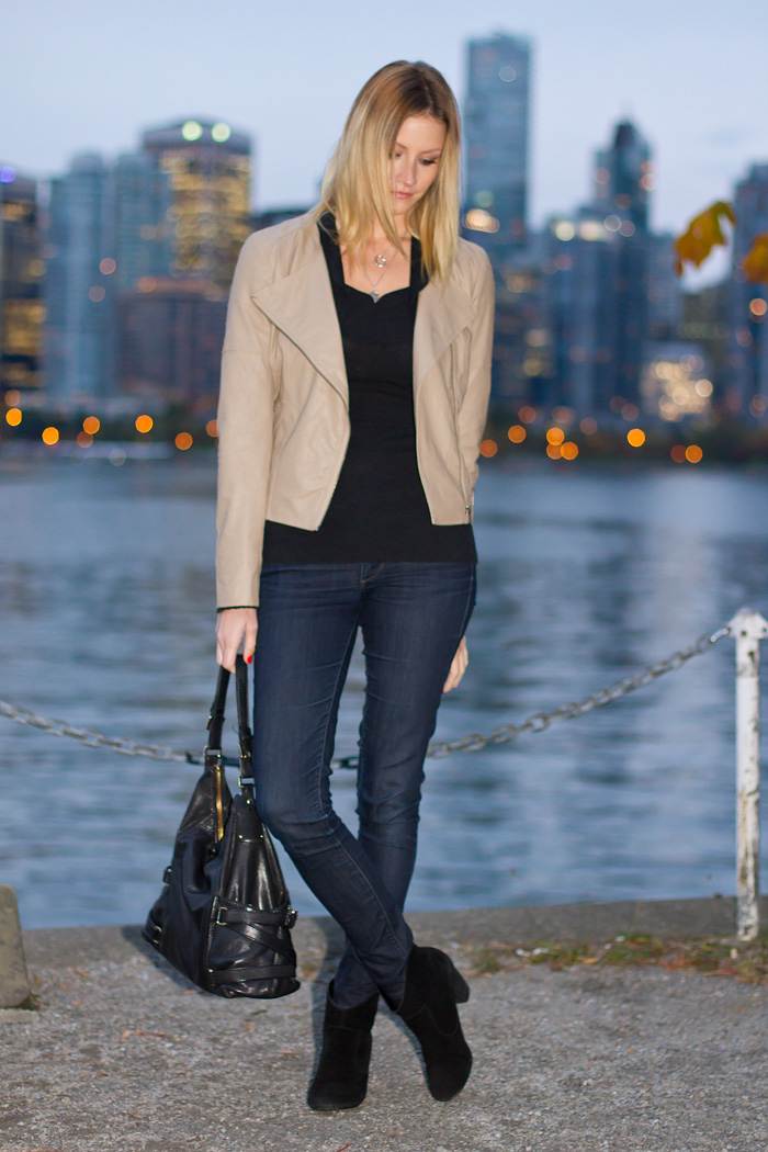 Vancouver Fashion Blogger, Alison Hutchisnon, wearing Urban Outfitters tan pleather jacket, Guess by Marciano Black cowl neck sweater, Paige Premium Denim dark wash jeans, Urban Outfitters black suede booties, Michael Kors bag, Tiffany and Pyrrha necklaces. Photos taken in Stanley Park