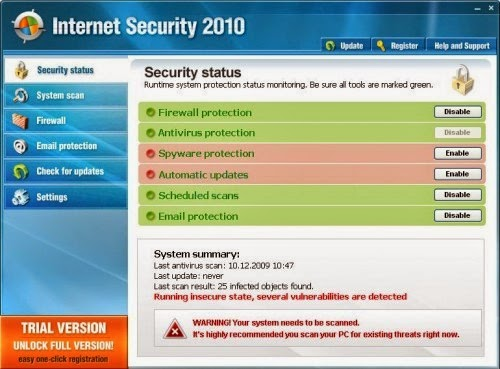 Fake Antivirus Software which themselves are viruses ...