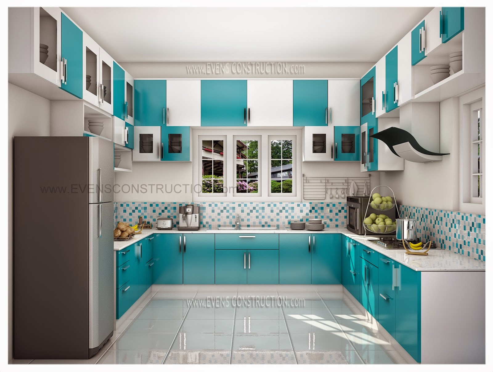 Evens construction pvt ltd beautiful kerala kitchen for Interior designs photos
