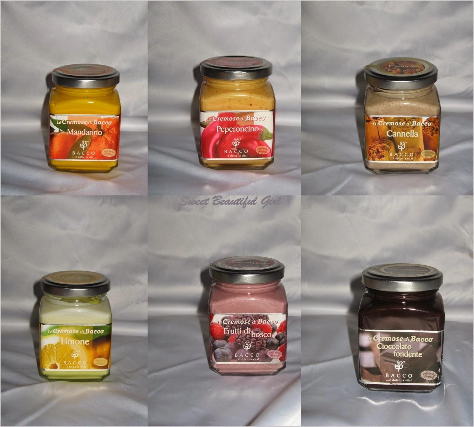 crema mandarino, crema peperoncino, crema cannella, crema cioccolato fondente, crema limone, crema frutti di bosco