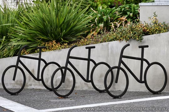 Arty, crafty and practical, bike stands in Hastings photograph
