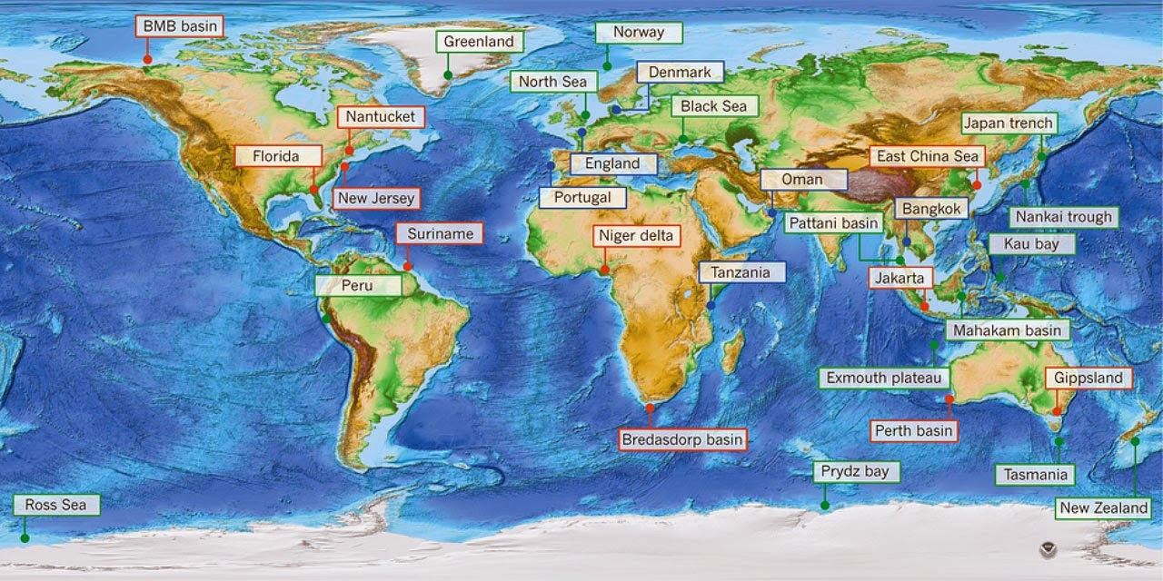 World Map Of Topography And Bathymetry Showing Known Occurrences Of Fresh  And Brackish Offshore Groundwater Image
