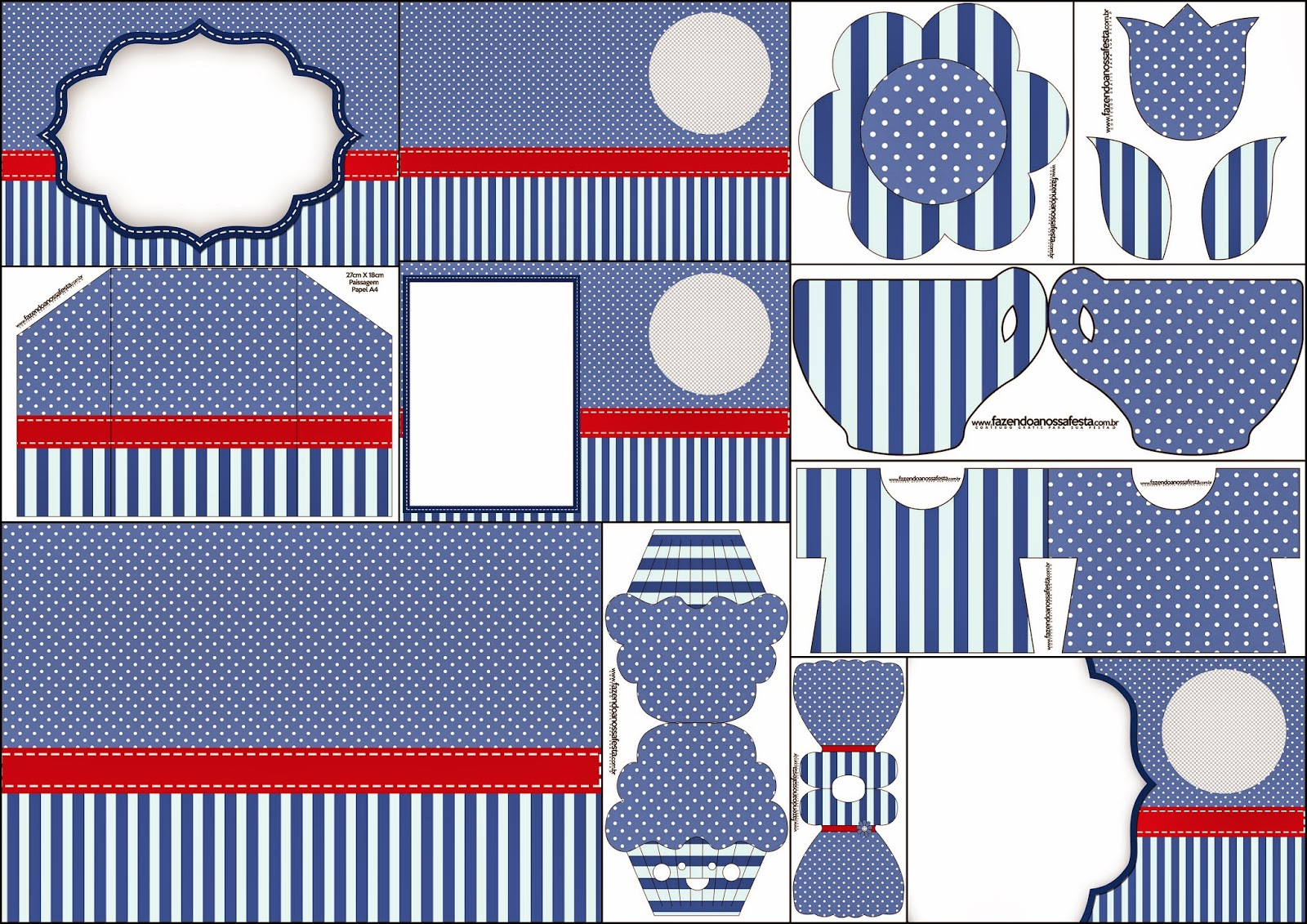 Blue Stripes and White Polka Dots: Free Printable Invitations.