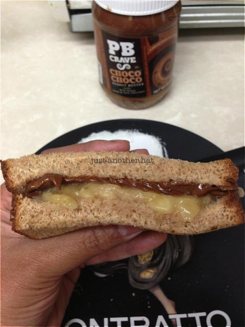 choco choco peanut butter and banana sandwich