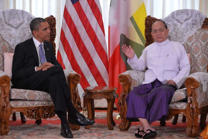 Obama's visit to Burma sitting with president Thein Sein