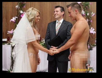 Naked bride and groom