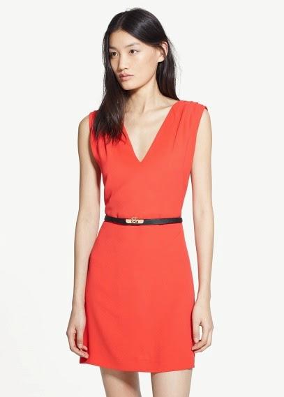 Mango 2015 Elbise Modelleri  v yaka kemerli kısa elbise kolsuz