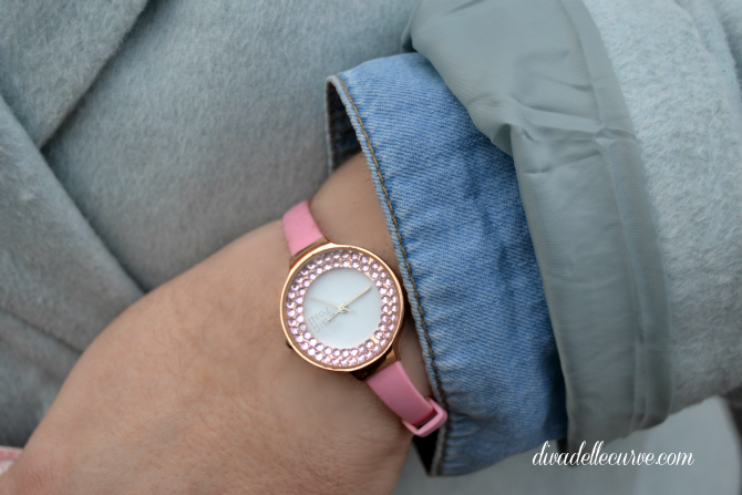 orologio rosa con strass think positive