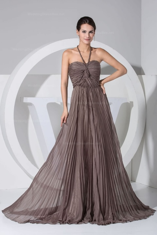 Halter neck pleated chiffon flowy a line floor length evening dress