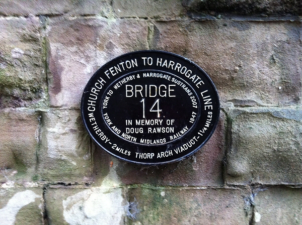 Plaque under Thorpe Arch Railway Bridge