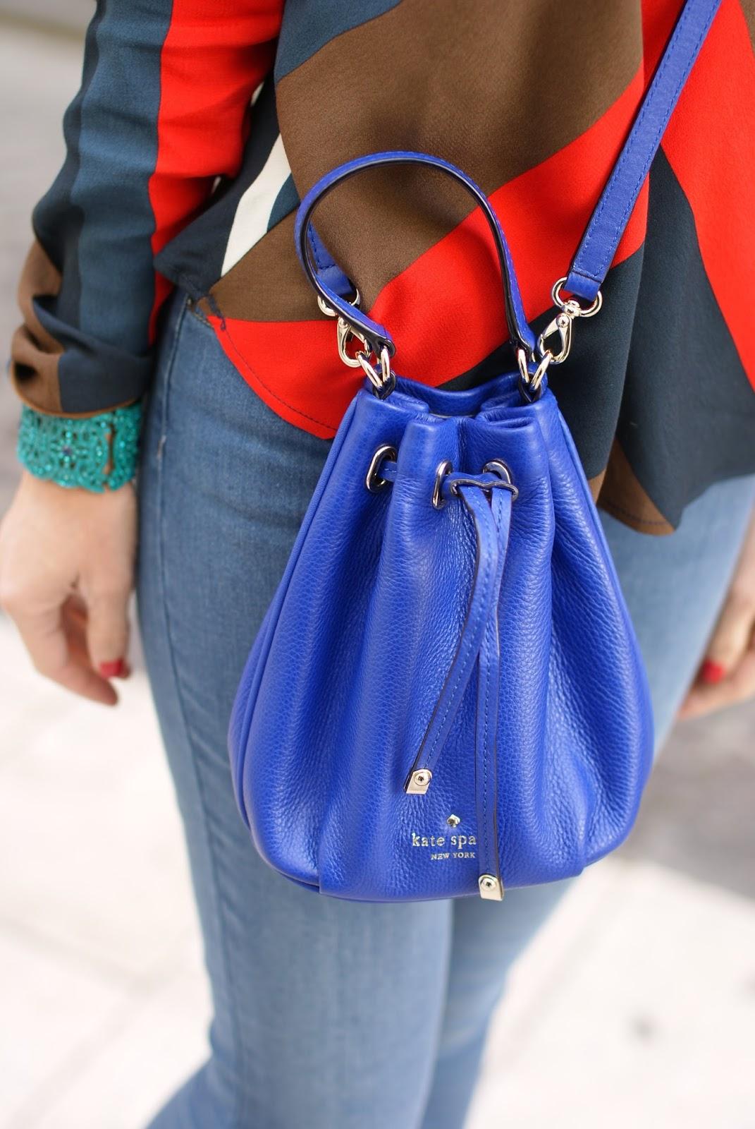 royal blue Kate Spade New York Wyatt mini bucket bag on Fashion and Cookies fashion blog, fashion blogger style