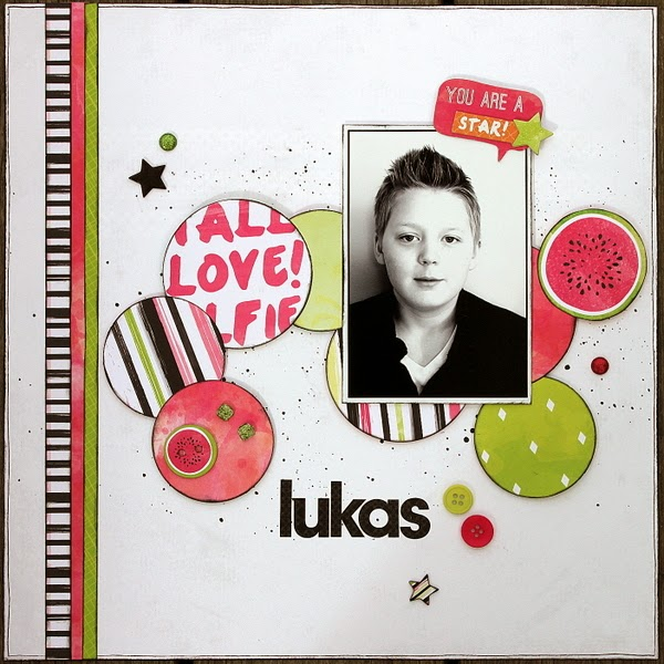 Lukas Scrapbook Page by Ulrika Wandler using BoBunny Forever Young Collection