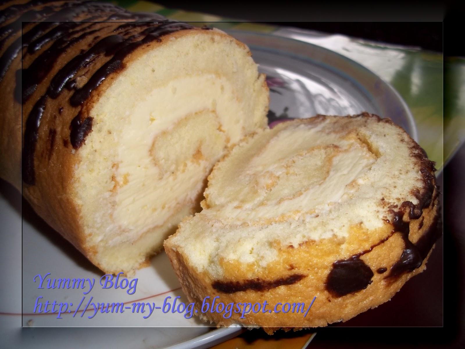 Рулет бисквитный с белковым кремом рецепт с пошагово