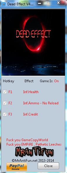 Dead Effect V4.3.1.28294 Trainer +4 MrAntiFun
