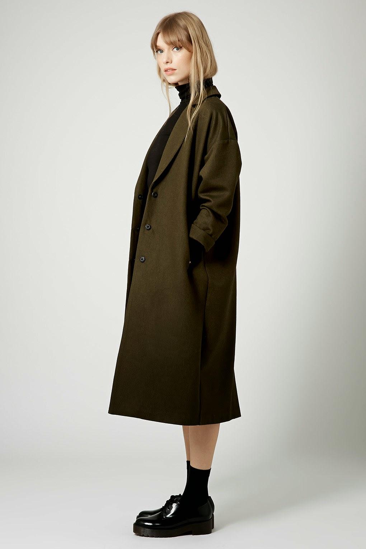 khaki maxi coat