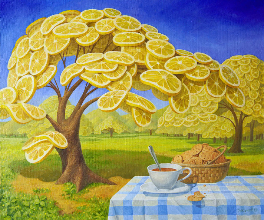 02-Lemon-Garden-Tea-Cookies-Vitaly-Urzhumov-Surreal-Paintings-of-the-World-of-Lemons-and-More-www-designstack-co
