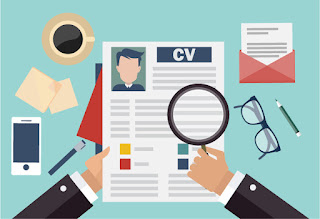 A cartoon of a magnifying glass over a resume illustrating that there are important details not reflected on a CV that interviewing skills training can reveal