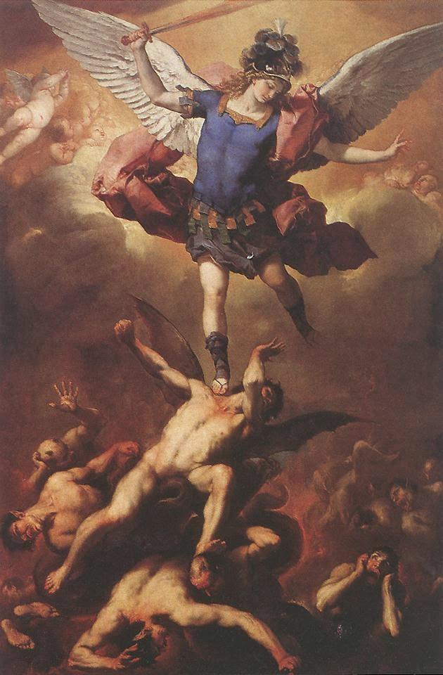 La caída de los Ángeles rebeldes obra del pintor italiano  Luca Giordano