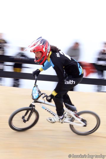 tevie-Lee Reuben, 14, pictured at Hawke's Bay BMX Club, Romanes Park, Romanes Drive, Havelock North, will be competing in the super class at the Central Region tournament this weekend. photograph