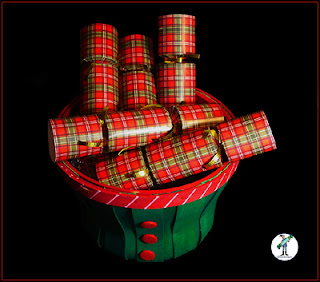 "Christmas holiday crackers - ""Red Plaid"" design."