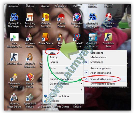 Gambar: Cara menyembunyikan icon-icon di desktop