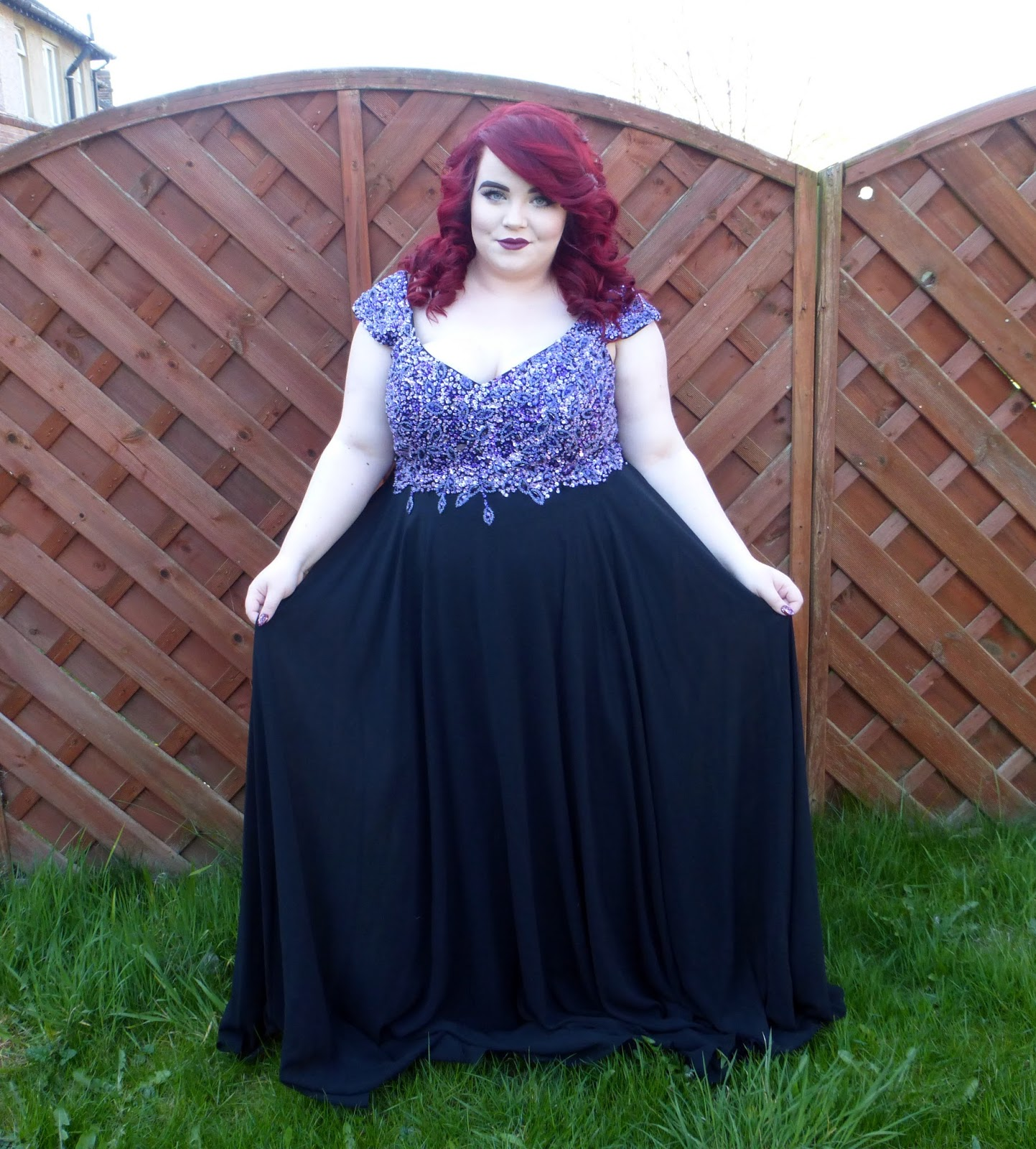 Dynasty London - Viviana Black & Purple Plus Size Evening Dress, georgina grogan, plus size blogger, shemightbeloved