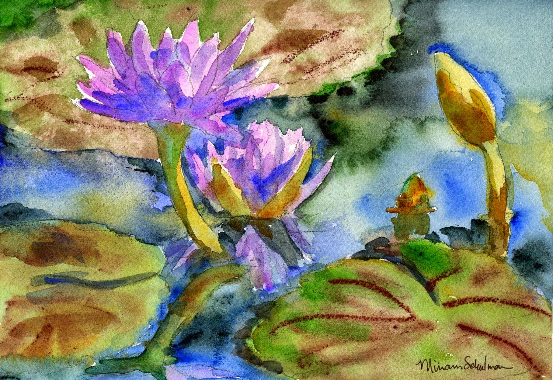 watercolor lilies https://www.etsy.com/listing/71887968/floral-purple-waterlilies-watercolor