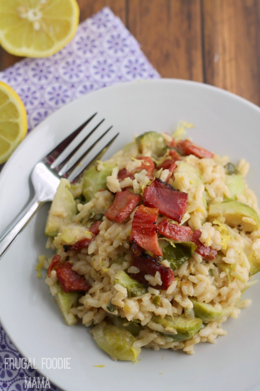 Bright lemon, fresh Brussels sprouts, crispy ham, and creamy arborio rice come together in this perfect for spring Lemon Risotto with Brussels Sprouts & Crispy Ham.