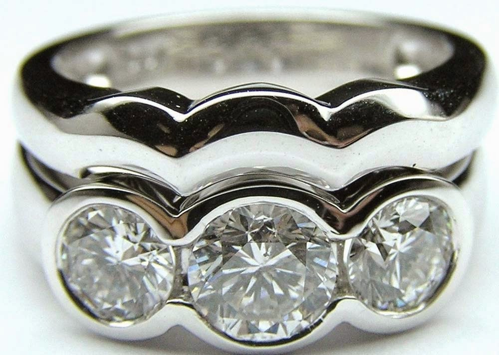 3 Stone Diamond Bridal Set Rings Sterling Silver Wavy Design pictures hd