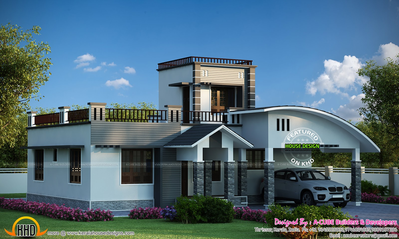 One floor house with double height area kerala home for Home designs 2 floor