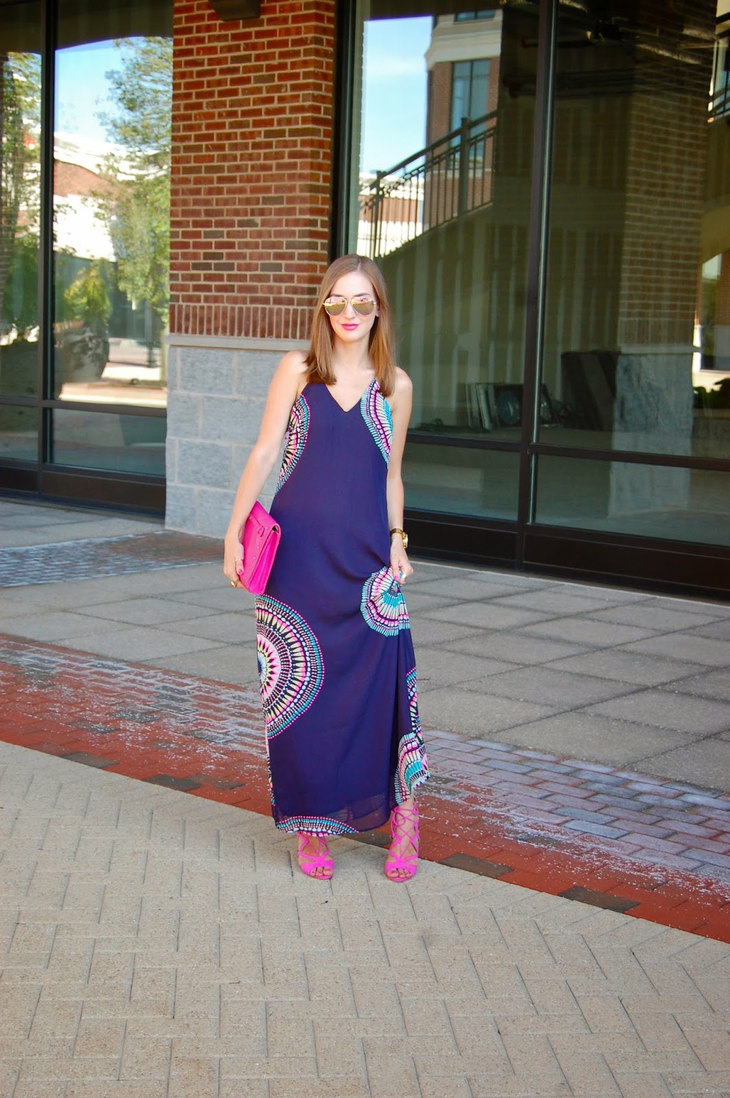 Wearing Old Navy Navy Blue Women's Sunburst Chiffon Maxi Dress, Neiman Marcus Pink Studded Tonal Clutch, Wearing Just Fab Emmey Violet Lace Up Heels, Summer 2014 Dress Looks