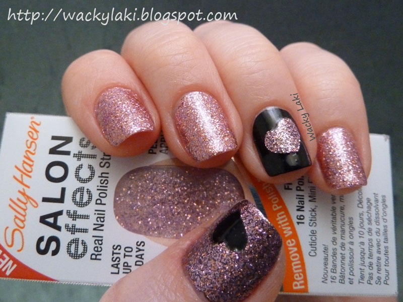 Wacky laki sally hansen salon effects bling it on for valentines day interestingly the polish strips are a bit sheer which is not noticeable when placed over an unpainted nail but it did darken the color when placed over solutioingenieria Choice Image
