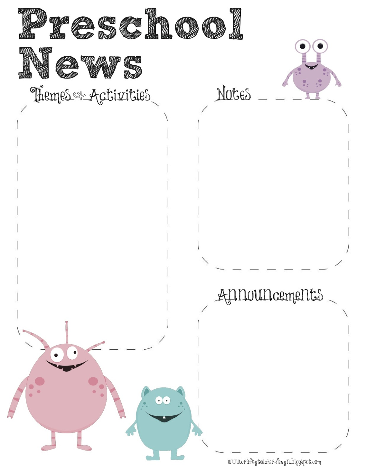 monster theme preschool newsletter template the crafty teacher. Black Bedroom Furniture Sets. Home Design Ideas