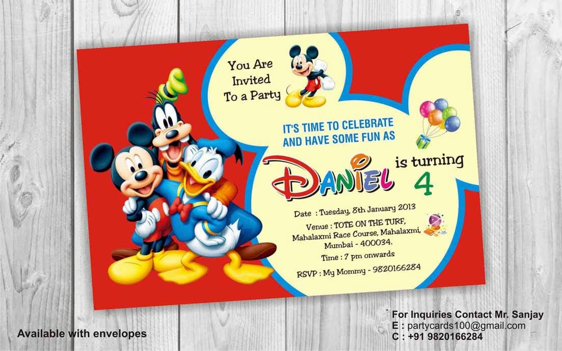 birthday party invitation card invite personalised return gifts mumbai mickey mouse birthday
