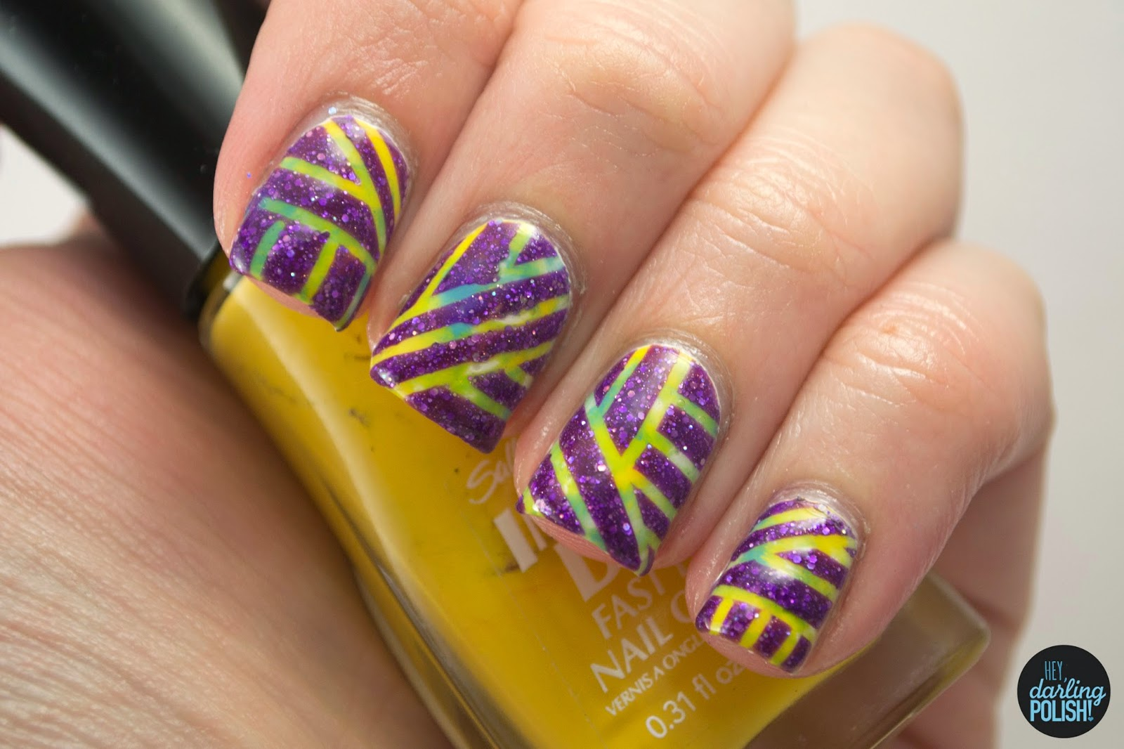 nails, nail art, nail polish, stripes, purple, yellow, blue, green, hey darling polish, striping tape, pipe dream polish