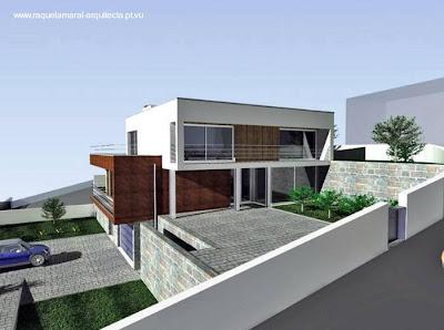 Renderizado de una casa residencial estilo Contemporáneo