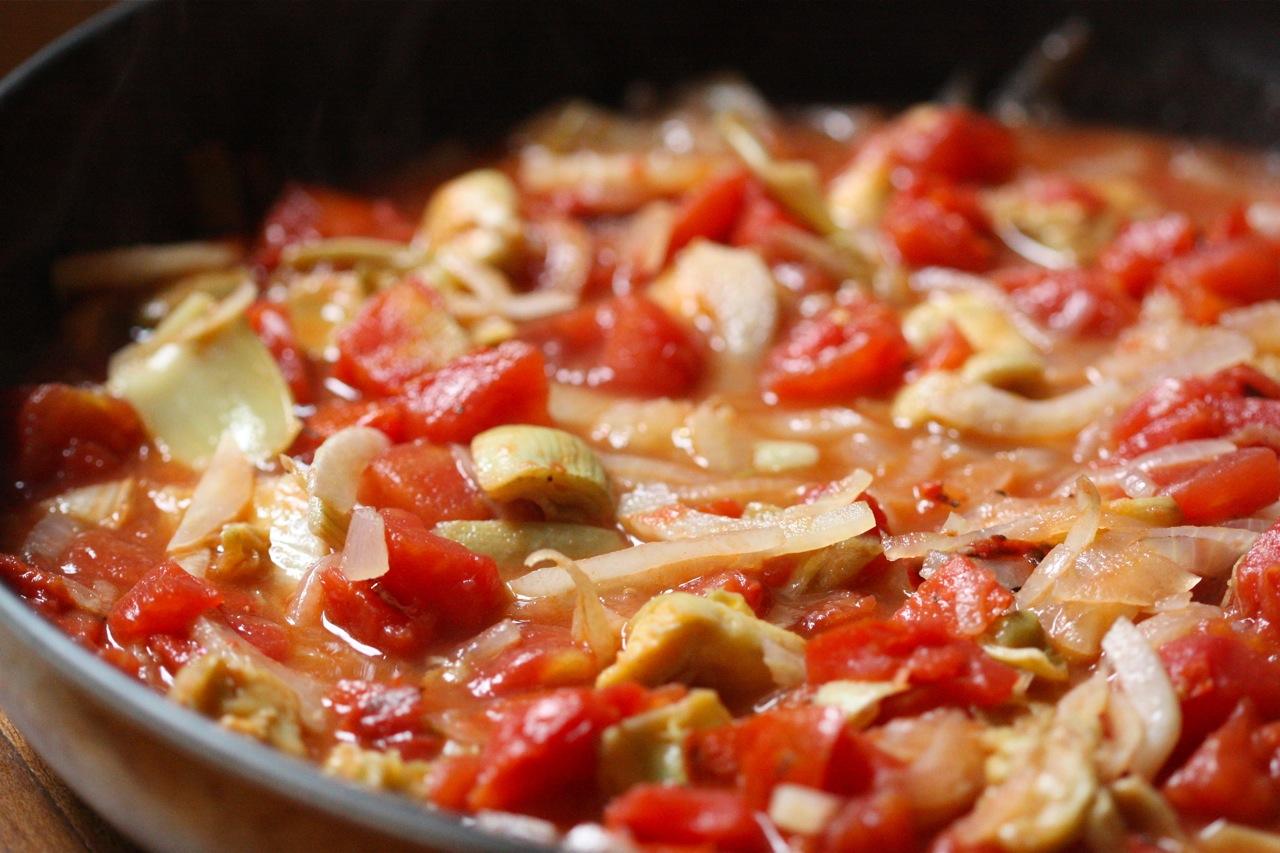 ... in a Fennel, Onion, Marinated Artichoke Heart & Roasted Tomato Sauté