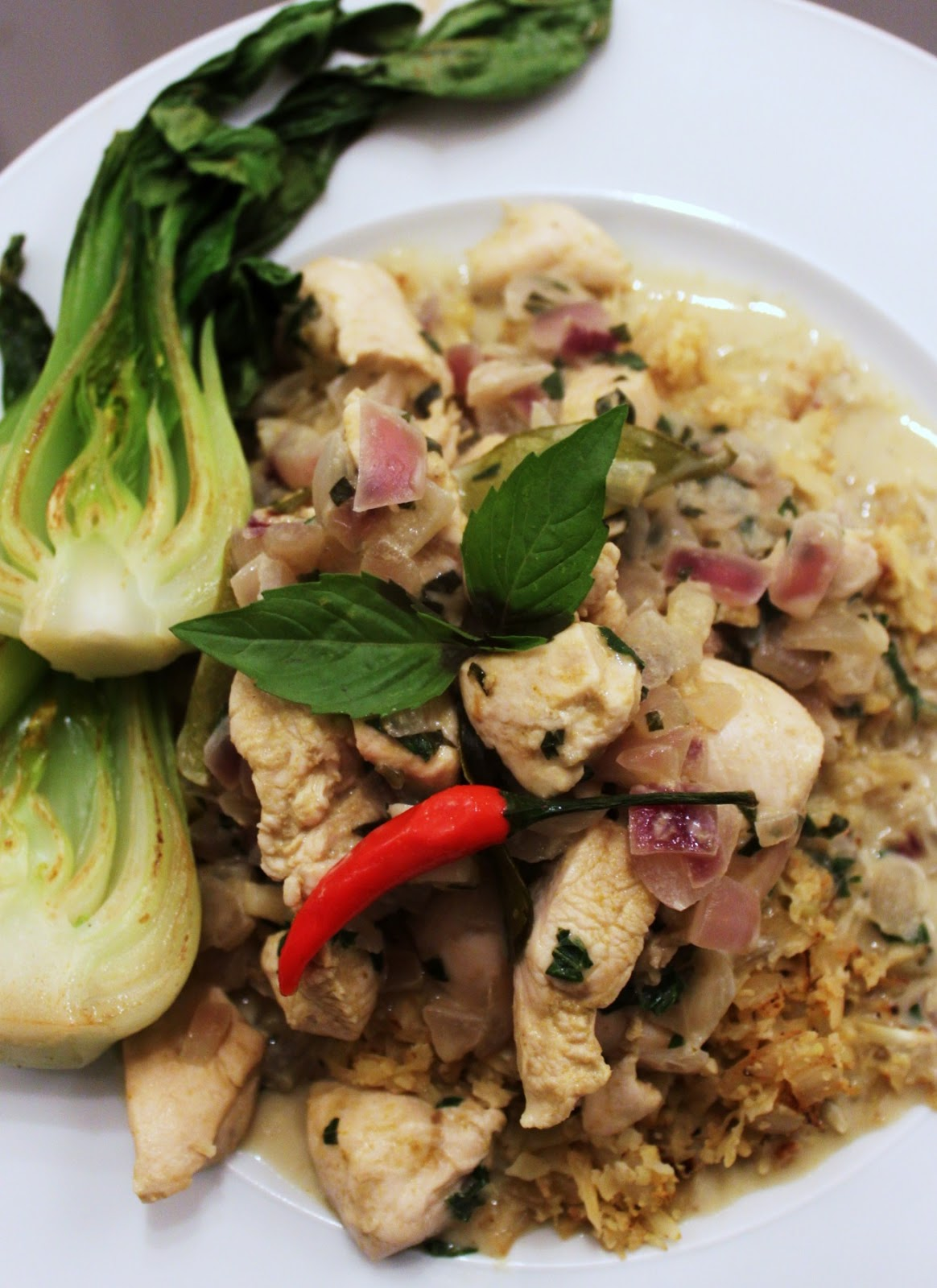 "Chicken Basil Green Curry with Cauliflower ""Rice"" & Bok Choy | ..."