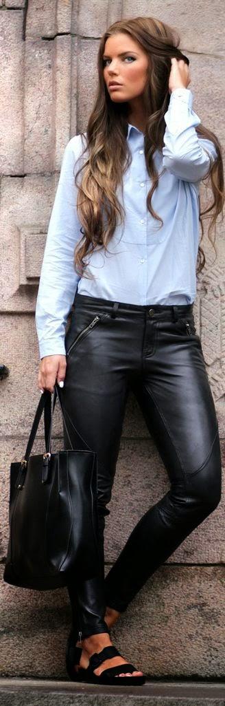 Yeni Moda Bayan Deri Pantolon Modelleri