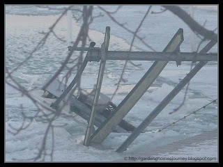 neighbour's dock damaged by ice