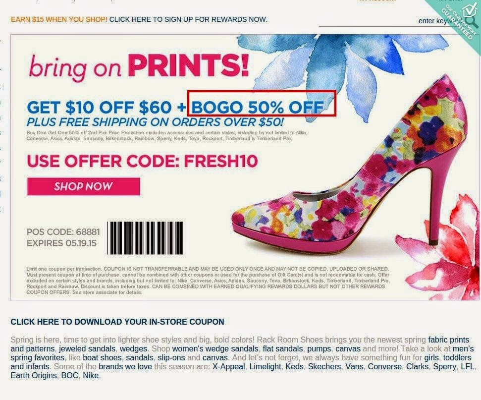 Coupons rack room shoes 20 off : I9 sports coupon