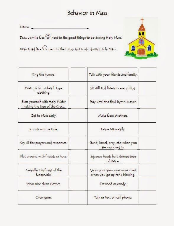 The Catholic Toolbox: Behavior In Mass Worksheet
