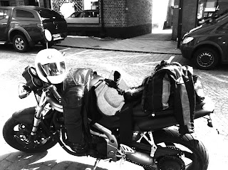 motorcycle equipment is thrown on the motorcycle