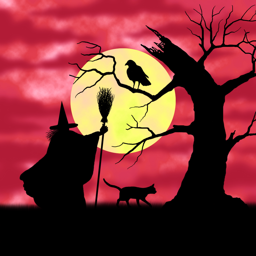 crafty moments  halloween silhouette witch topper