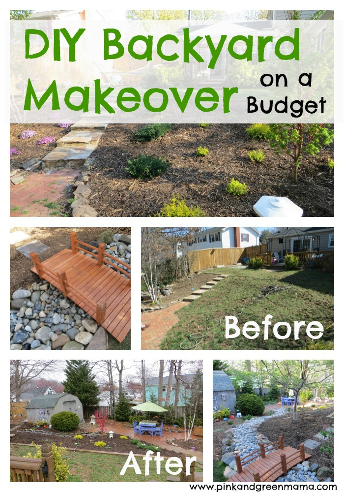 Pink and green mama diy backyard makeover on a budget for Cheap backyard makeover ideas