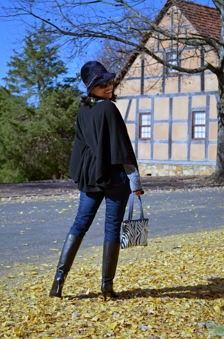 Poncho Look Tall Black Boots