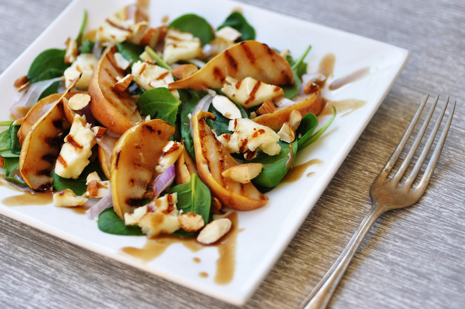 Anja's Food 4 Thought: Pear and Spinach Salad with Halloumi