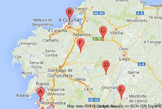 Mapa de campos de golf en Galicia