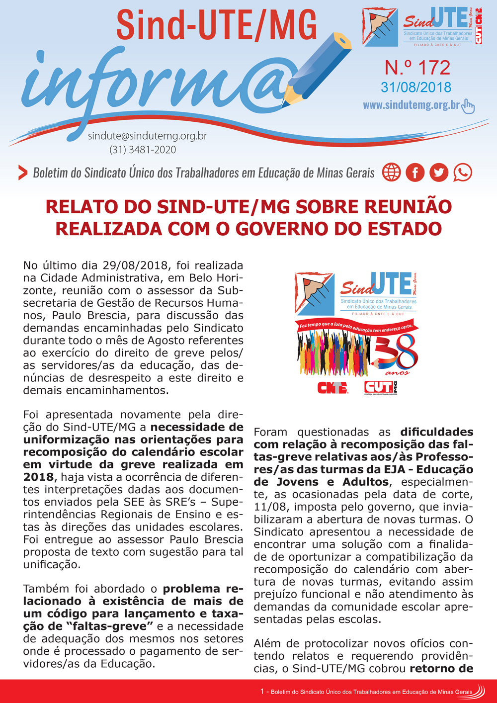 Boletim Inform@ nº 172 - Estadual